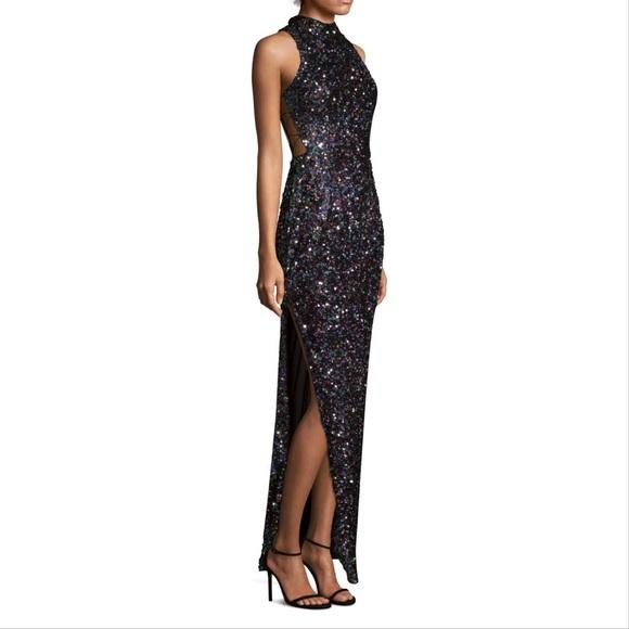 753132e044236 Aidan Mattox BrandNew Sequin Column Gown Black NWT